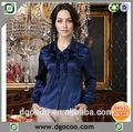 nuevo diseño de la gracia de manga larga elegante blusa de seda