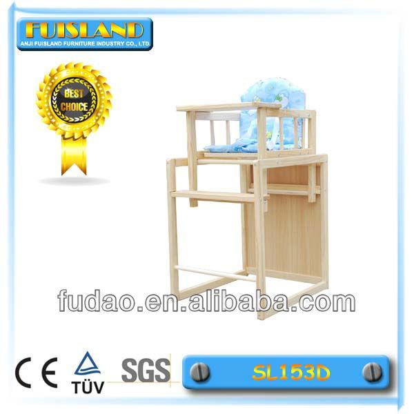 2014 de seguridad de madera de bebé sentado silla alta