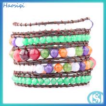 de colores de moda de la joyería del grano haosiqi de jade teñido de pulsera de plástico
