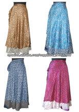 Diseñador Silk Sari reversible dos capa larga Envuelva ronda Falda