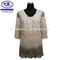 venta caliente de lujo para damas de moda blanco blusa de encaje