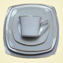 Golden aro quadrado de porcelana prato& café conjunto louça