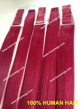 venta caliente del pelo humano baratos halo extensiones de cabello 20 rojo pulgadas de extensiones de cabello cinta en la acción