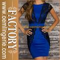 Últimas Encaje vestido azul con cinturón vestidos de espalda en V profunda para damas