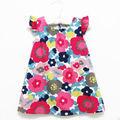 De alta calidad sin mangas de las muchachas de flor 2013 nuevo Polka Dot impresión de dos colores vestido respirable
