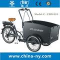2014 caliente de la venta de tres ruedas 24 pulgadas eléctrica bicicleta de carga/bakfiet/cargobike/modelo de moto ub9031e