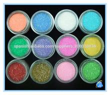 12 colores de polvo de uñas de arte Consejos neto 8g polvo del brillo
