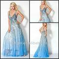 De moda 2014 estiloun- línea profundo v- cuello de gasa azul noche lentejuelas cuentas ed069 vestidos