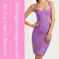 Venta al por mayor estimado- amante de color púrpura bodycon cruce vestido de vendaje