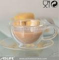 Resistente ao calor parede dupla de vidro copo de café/vidro turco xícaras de chá de