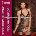 2014 leopardo impressão de cetim de mulheres maduras sexy vestido de noite com tanga l2519