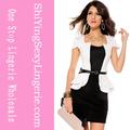 Nuevo diseño al por mayor cap- mangas peplum vestido blanco vestidos formales de oficina para las mujeres