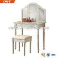 nuevo producto para 2013 blanco cosecha de madera mesa de tocador con espejo y taburete