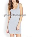Melhor- venda modelo de cor pura render vestidos sem mangas vestido club
