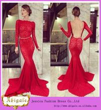 de diseño de estilo sirena de manga larga cuello barco sin espalda de encaje rojo vestido de boda musulmana( yw376)