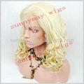 Aaaa grado de alta calidad más ligero rubia #613 rizado de color pervian cabello virgen
