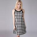 YIGELILA 2013 Damas moda rejilla impresa vestidos sin mangas 6374
