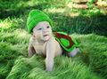 Traje para la foto - tortuga verde de punto de ganchillo (Bebé recién nacido hasta los 4 meses)