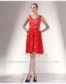 2014 de encaje rojo sin mangas bordado vestido de noche corto párrafo