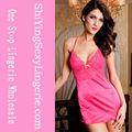 venta al por mayor sexy mujer de color de rosa de raso muñeca vestidos de noche