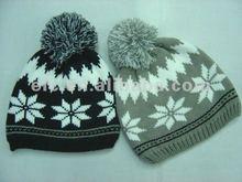 moda jacquard tejido de invierno top bola sombrero de mujer de punto sombrero de invierno
