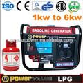 loncin 2kw modelo de glp y gasolina de doble uso del generador conjunto