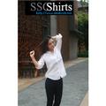 2014 100% de moda casual blusa de lino para la confección de corte blusa