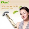 nueva vibración masajeador facial mini facial masajeador eléctrico de la energía solar de la belleza de la barra