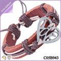 pulseras de cuero barato hacho a mano aleación pulsera corazon