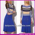 de impresión azul vestido de las mujeres fabricación última vestido de diseño de ropa de las mujeres