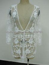 algodón crochet señora de la manga larga blusa de encaje