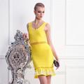 amarillo u cuello de huecos en la cintura vendaje de cola de pescado vestido vestido de noche