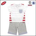 venta al por mayor de encargo los bebés varones de rayas bebé ropa de verano conjuntos