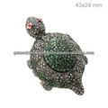 Diamante tsavorita tortuga allanar anillo de la joyería, 14k de oro anillo de tortuga, anillo de plata esterlina joyería