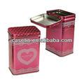 2013 nuevo producto rectangular de té de estaño puede con la bisagra