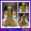Caliente la venta de oro de color elegante encaje de sirena vestido de novia de los patrones de vestido de novia turco 2014( zx0