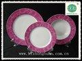 floral de color púrpura de porcelana vajilla conjunto