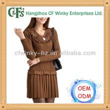 2013 ladies' caliente de la venta de piel del cuello vestido de suéter