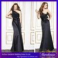 largo y negro de un hombro ver a través de corsé de satén país vestidos de dama de honor