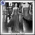 pp0205 um ombro fluindo preto designer de uma peça vestido de festa