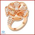 cobre plateado 18k de oro amarillo anillo de circón