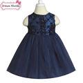 Flor menina vestidos de azul royal rose flor do vestido extravagante 2-4y crianças vestido vestido