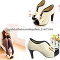 2013 Nueva llegada de la manera de las mujeres atractivas de la bomba del arco de la PU de tacón alto Zapatos Plataformas Botine