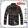 venta al por mayor de moda larga a cuadros diseño de camisas para hombres