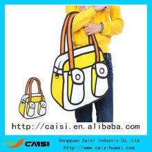 2014 caliente venta bolsos para mujer 3d 2d estilo de dibujo de la bolsa de dibujos animados de historietas 3d bolsas