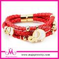 pulsera de cuero del metal de la joyería de la cinta elefante de la manera para las mujeres