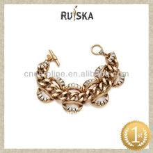 Singular pulsera de cristal, chapado en oro de frenar la cadena de pulsera