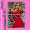 ML17835 Tres colores disponibles señora Lace Knit corte asimétrico Fuera de manga larga de encaje rojos vestidos de las mujeres