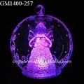 10 cm barnizado conducido decoración de bolas de Navidad con ángel dentro