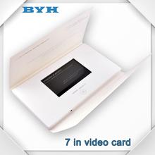 7 personalizado de publicidad pulgadas saludos de la pantalla táctil del folleto tarjeta de vídeo de venta al por mayor